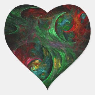 Genesis Green Abstract Art Heart Sticker