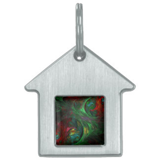 Genesis Green Abstract Art House Pet Tag