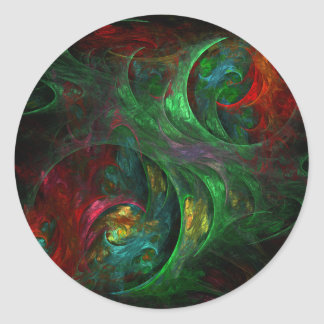 Genesis Green Abstract Art Round Sticker
