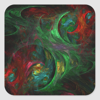 Genesis Green Abstract Art Square Sticker