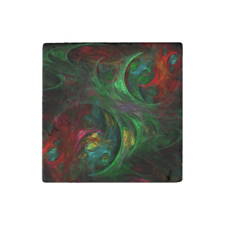 Genesis Green Abstract Art Stone Magnets