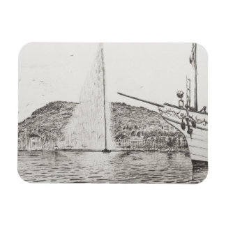 Geneva Fountain and Bow of pleasure Boat 2011 Rectangular Photo Magnet