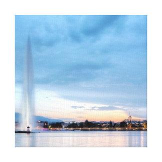 Geneva fountain, Switzerland Canvas Print