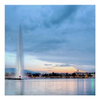 Geneva fountain, Switzerland Perfect Poster