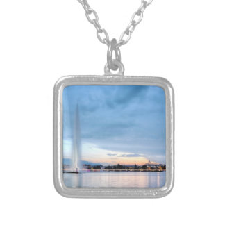 Geneva fountain, Switzerland Silver Plated Necklace