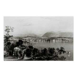 Geneva from Coligny, engraved by Robert Wallis Poster