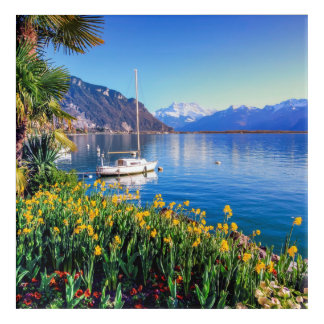 Geneva lake at Montreux, Vaud, Switzerland Acrylic Wall Art