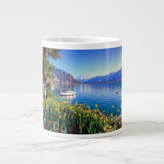 Geneva lake at Montreux, Vaud, Switzerland Large Coffee Mug