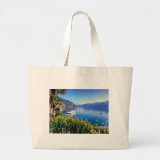Geneva lake at Montreux, Vaud, Switzerland Large Tote Bag