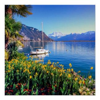 Geneva lake at Montreux, Vaud, Switzerland Perfect Poster