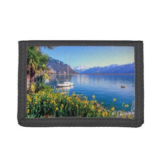 Geneva lake at Montreux, Vaud, Switzerland Tri-fold Wallets