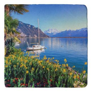 Geneva lake at Montreux, Vaud, Switzerland Trivet