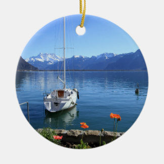 Geneva lake scenery, Montreux, Switzerland Ceramic Ornament