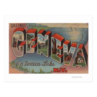 Geneva, New York - Large Letter Scenes Postcard