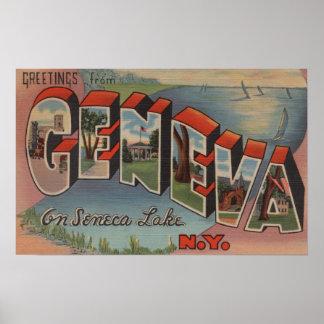 Geneva, New York - Large Letter Scenes Poster
