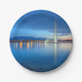 Geneva panorama with famous fountain, Switzerland, Paper Plate