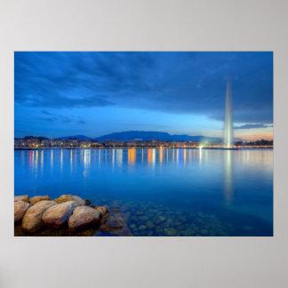 Geneva panorama with famous fountain, Switzerland, Poster