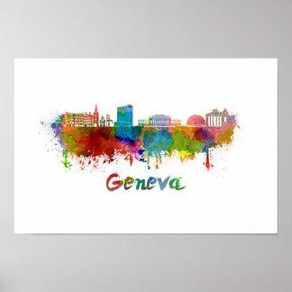 Geneva skyline in watercolor poster