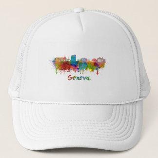 Geneva skyline in watercolor trucker hat
