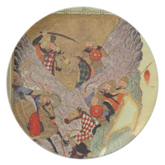 Genghis Khan (c.1162-1227) fighting the Chinese in Plates