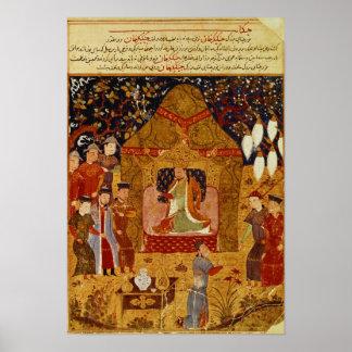 Genghis Khan in his tent by Rashid al-Din Poster