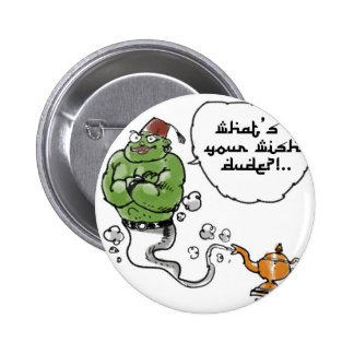 genie of_the lamp with arabic text 2 inch round button