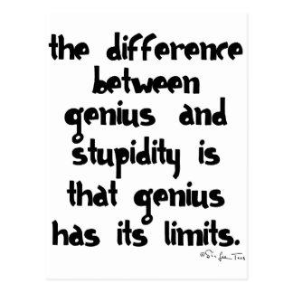Genius and Stupidity Post Card