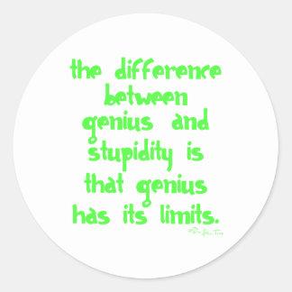 Genius and Stupidity Round Sticker
