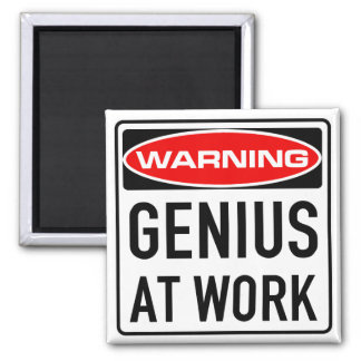 Genius At Work Funny Warning Road Sign Square Magnet