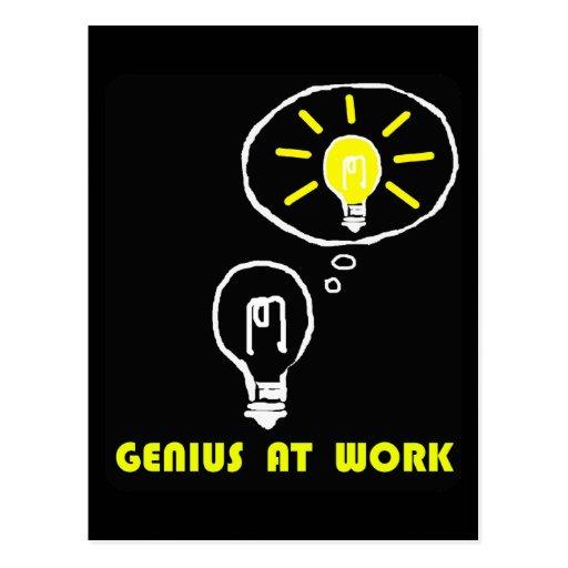 Genius at work post card