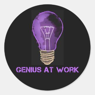 Genius at Work Round Sticker