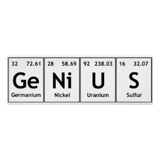 GeNiUS Chemistry Periodic Table Words Elements Poster