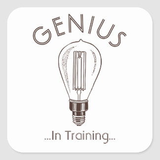 Genius In Training Antique Light Bulb Square Sticker