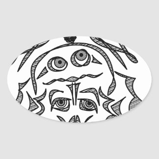 genius Skull Idea Oval Sticker