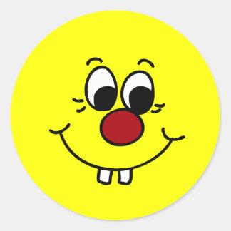 Genius Smiley Face Grumpey Round Sticker