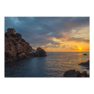 Genoese Tower in Porto Sunset Ota Corsica France Custom Invitation