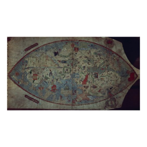Genoese world map, designed by Toscanelli Poster