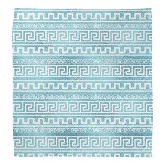 Gentle Blue Greek Meander Pattern on glass Bandana