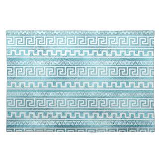 Gentle Blue Greek Meander Pattern on glass Placemat