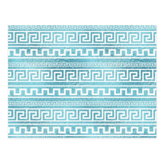 Gentle Blue Greek Meander Pattern on glass Postcard