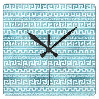 Gentle Blue Greek Meander Pattern on glass Square Wall Clock