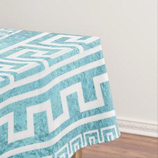 Gentle Blue Greek Meander Pattern on glass Tablecloth