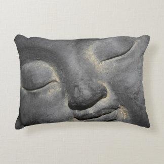 Gentle Buddha Face Stone Sculpture Decorative Pillow