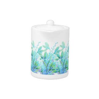 Gentle elegant blue turquoise flower watercolor