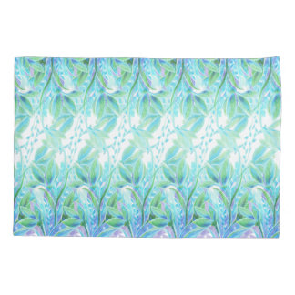 Gentle elegant blue turquoise flower watercolor pillowcase