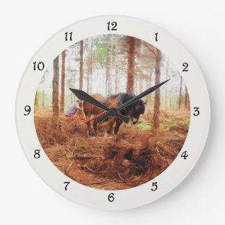 Gentle Giant - Draft Horse Hauling Logs in Forest Large Clock