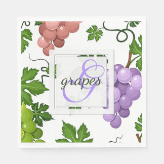 Gentle Grapes and Grapevines Paper Napkin