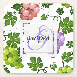 Gentle Grapes and Grapevines Square Paper Coaster