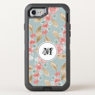 Gentle Monogrammed Retro Floral Design OtterBox Defender iPhone 8/7 Case
