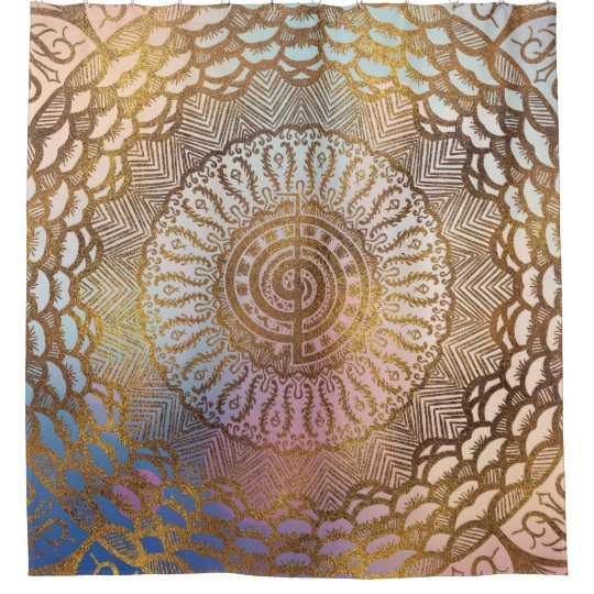 Gentle Pastel and Gold Choku Rei Symbol in Mandala